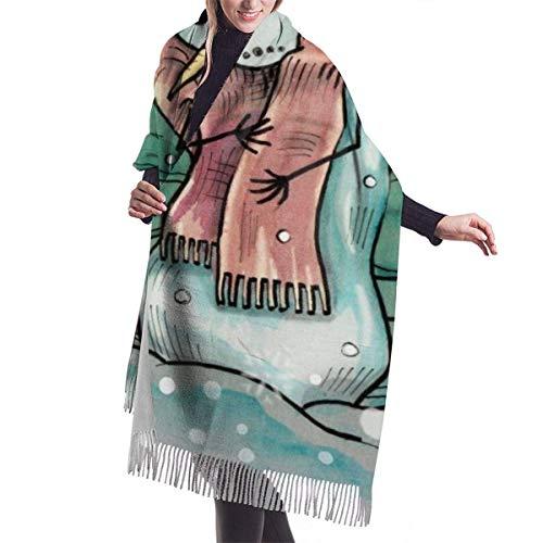 AOOEDM Schneemann Gefrieren draußen Imitieren Kaschmir Gefühl Winterschal Pashmina Schal Wraps Weiche warme Decke Schals Elegante Wickel für Frauen