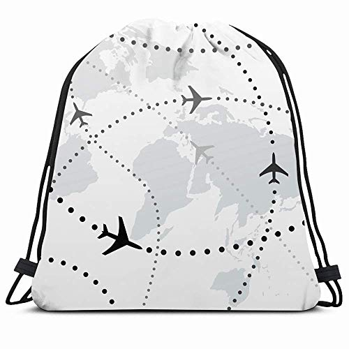 Drawstring Backpack String Bag 14X16 Travel World Map Dotted Airline Airliners Airplane Plans Flight Path Transport Flying Air Planes Aviation Sport Gym Sackpack Hiking Yoga Travel Beach