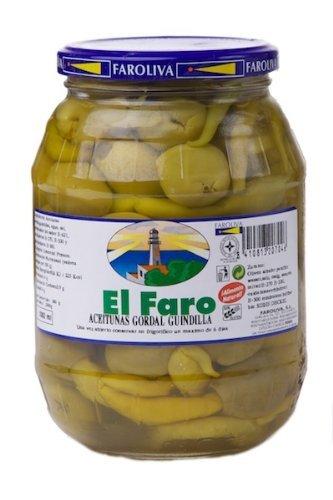 El Faro - Grüne, Dicke Oliven mit Peperoni (ganze Peperoni) 180g.