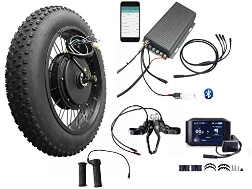 20inch4.0 3000W Electric Fat Bike Conversion kit with tire, Sabvoton Programmable Controller, TTFT 750C Display, 7- Speed Freewheel, and Twist Throttle (with Color TFT Display)