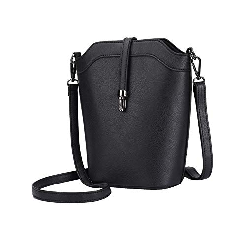 seOSTO Crossbody Bags for Women, Small Leather Bucket Crossbody Bag, Womens Vegan Bag/Bucket Purses/Handbags/Shoulder Bags (update-Black)