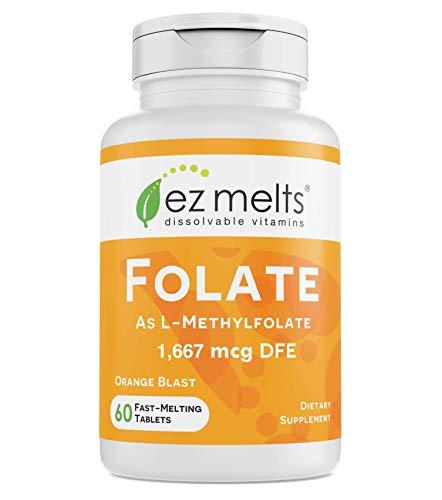 EZ Melts Folate as L-5-Methylfolate  1 667 mcg DFE  Sublingual Vitamins  Vegan  Zero Sugar  Natural Orange Flavor  60 Fast Dissolve Tablets