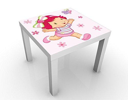 Apalis Table Basse Design Strawberry Shortcake Baby - Playing with Butterfly 55x55x45cm, Tischfarbe:Weiss;Größe:55 x 55 x 45cm