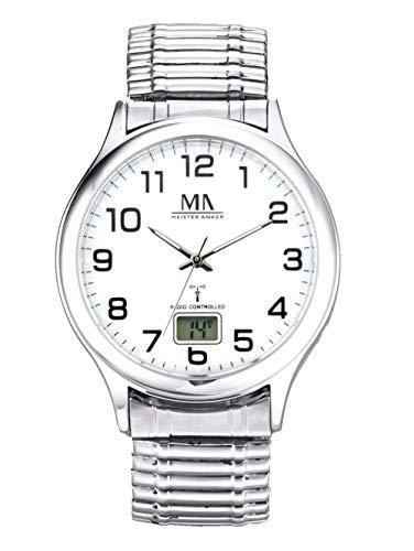 Meister Anker Herren Funkuhr – Armbanduhr mit Analog- und Digital-Anzeige, Metall-Uhr mit Edelstahl-Gliederarmband, in Silber