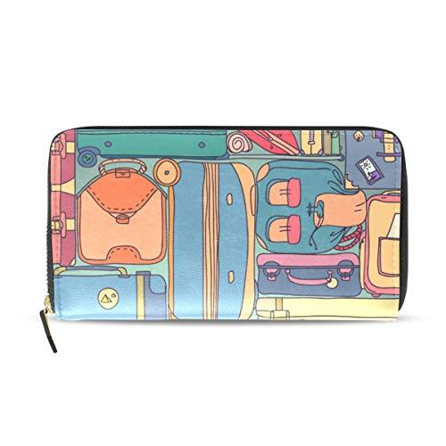 FANTAZIO cartera de mano colección de maletas de viaje vintage con pegatinas patrón nombre tarjeta organizador