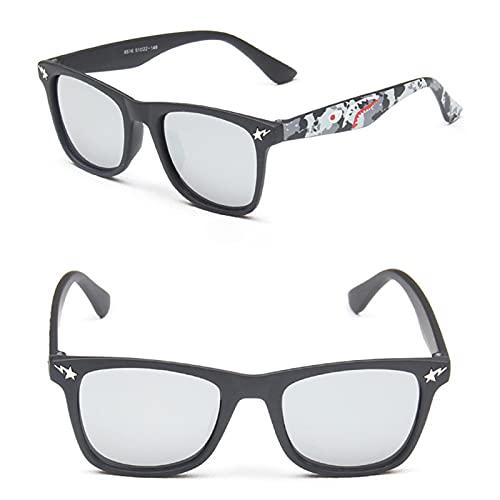 MINGQIMY Gafas de Sol 2020 niños Moda Gafas de Sol Espejo Cuadrado Gafas de Sol diseño Gafas de Sol para niños y niña diseño Gafas (Frame Color : Black, Lenses Color : 10 MN8516 C5)