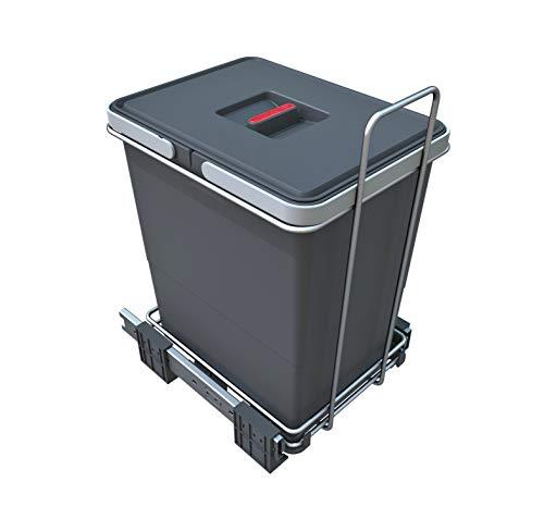 ELLETIPI - Ecofil PF01 34C1 - Cubo de Basura para Reciclaje extraíble para Base, plástico y Metal, Color Gris, 23 x 41 x 36 cm