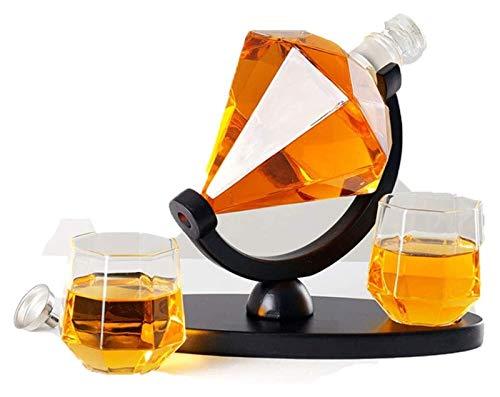 Creative Whisky Decanter Globe Set, Glaswerk voor diamantvorm, met 2 glazen en houten basis whisky-bril