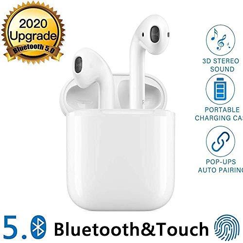 Auricolare Bluetooth 5.0 Senza Fili,Cuffie Wireless Stereo 3D with IPX5 Impermeabile,Accoppiamento Automatico Per Chiamate Binaurali,compatibile Per Samsung/iPhone/Android/Apple AirPods/Huawei