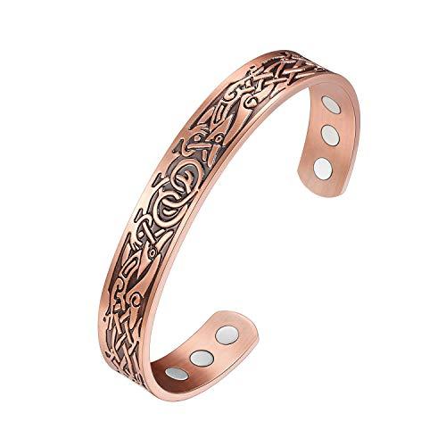 Jeracol Kupfer-Armbänder für Damen und Herren, 99,9 % reines Kupfer, magnetisches Armband zur Schmerzlinderung bei Arthritis, mit 6 starken Magneten, verstellbare Größe