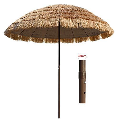 HLMBQ 240cm Ombrellone da Spiaggia in Stile Hawaiano Ombrello Parasole Finta Paglia,Spiaggia Mare Patio albergo gelateria Bar Locale Antivento 16 Costole
