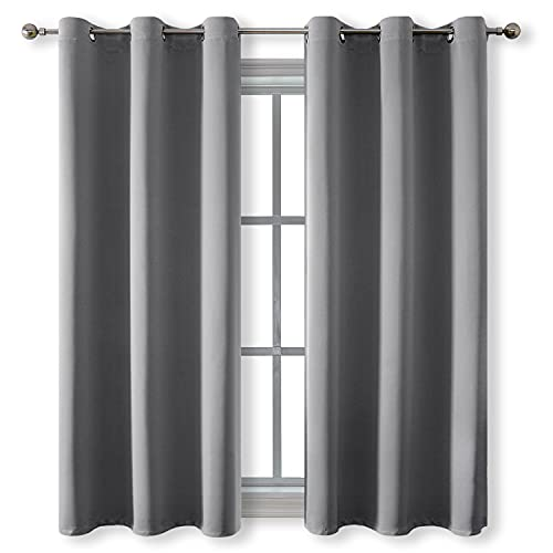 Rutterllow Blackout Curtains for Bedroom, Thermal Insulated Room Darkening Curtains 2 Panels for Living Room, Grommet Top (42x63 Inch, Dove Grey)