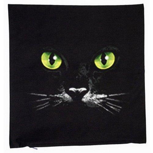 Zwarte kat met sexy katten ogen 40x40cm kussensloop in zwart