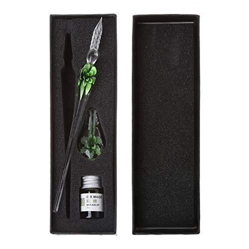 MYhose Conjunto de bolígrafo Vintage Hecho a Mano Arte Elegante Cristal Floral Vidrio inmersión Pluma Signo Tinta bolígrafos Regalo Verde