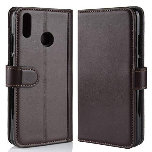 HualuBro Huawei Honor 8X Hülle, Echt Leder Leather Wallet HandyHülle Tasche Schutzhülle Flip Hülle Cover für Huawei Honor8X / Honor View 10 Lite (Braun)