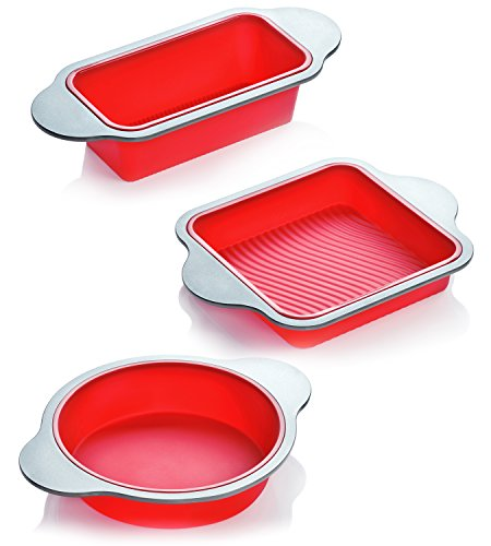 Silicone Bakeware Set | 3Piece Professional NonStick Silicone Baking Set by Boxiki Kitchen | Includes Round Cake Mold Pan Square Cake Mold Pan Bread Loaf Mold Pan