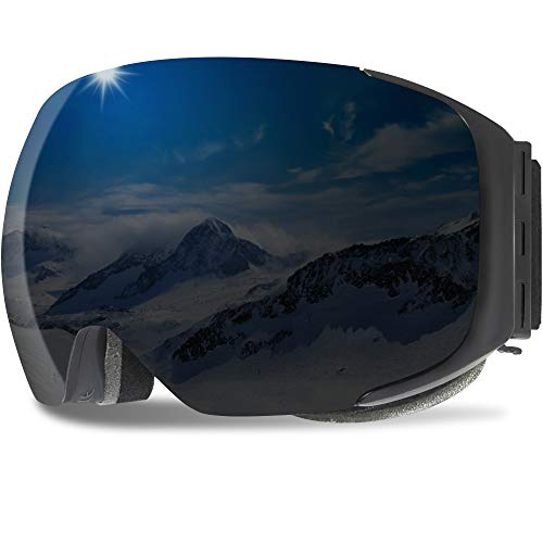 GANZTON Skibrille Anti Fog Snowboardbrille OTG Brillenträger UV-Schutz Snow Snowboard Brille Verspiegelt mit Magnetischer Gläser,Helmkompatible für Damen und Herren,Jungen und Mädchen(Pures Schwarz)