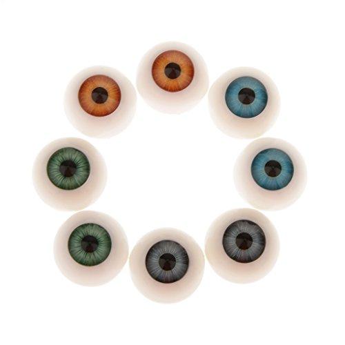 8 Piezas 20mm Media Caña Hueca de Ojos Acrílico Oculares para Muñeca Dollfie