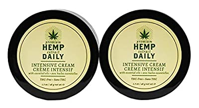 Hemp Daily Intensive Cream | Intensive Hemp Cream with Essential Oils | Vegan, Organic Ingredients, Calming, Use for Muscle Pain and Anxiety Relief | 1.7 Ounces, 2 Pack by Hemp Daily