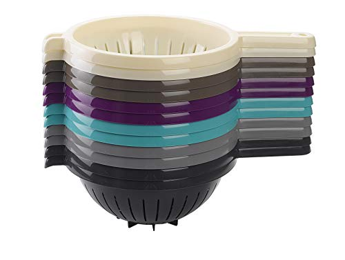 PlasticForte, scolapasta per cucina con manico in plastica, Viola, 22 cm