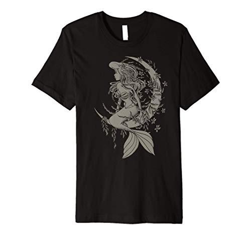 Disney The Little Mermaid Ariel Crescent Moon Sketch Premium T-Shirt