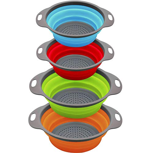 Rottogoon 4-Sets Colorful Collapsible Kitchen Colander/Strainer, Two Pieces-4 Quart and Two Piece-2 Quart-,Perfect for Draining Pasta, Vegetable,Fruits