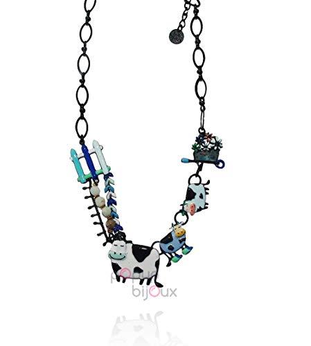 LOL Bijoux – Collar vaca primavera – azul – POpup-Bijoux