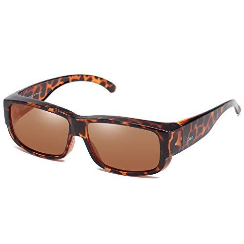 DUCO Unisex polarisierte Sonnenbrillen Überziehbrille Fit-Over Brille Korrekturbrille RX Brille 8956 (Tortoise)