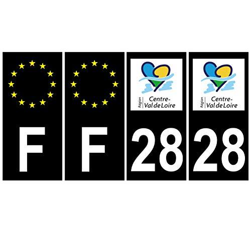 Supstick 4 stickers, nummerborden, voor auto, Dept 28, Val de Loire zwart, vierkante hoeken