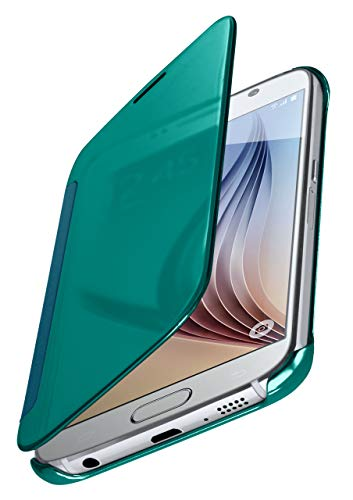 MoEx® Funda Protectora Fina Compatible con Samsung Galaxy S6 | Cristal Tintado Transparente, Turquoise