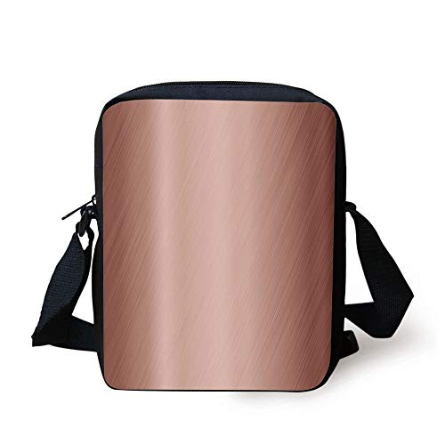 Copper Decor,Abstract Smooth Alloy Surface Image Diagonal Lines with Reflection,Bronze Light Bronze Print Kids Crossbody Messenger Bag Purse