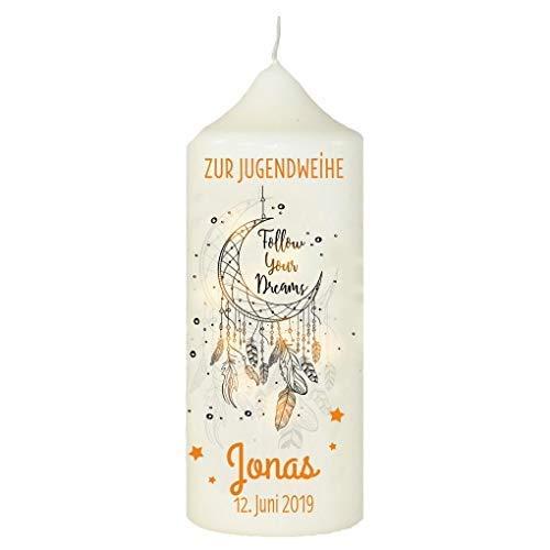 Livingstyle & Wanddesign Personalisierte Wachskerze zur Jugendweihe mit Namen und Datum Traumfänger orange, Weiß