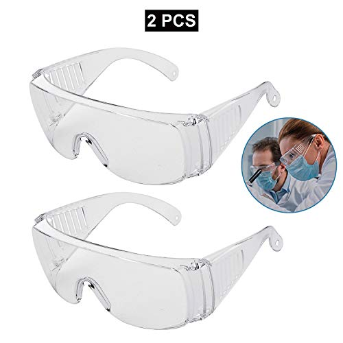 Safety Glasses Goggles Anti Fog AntiSplash AntiScratch OverGlasses Light Weight and Comfortable to Wear for PPE Home Lab Workplace 2 PACK Safety glasses