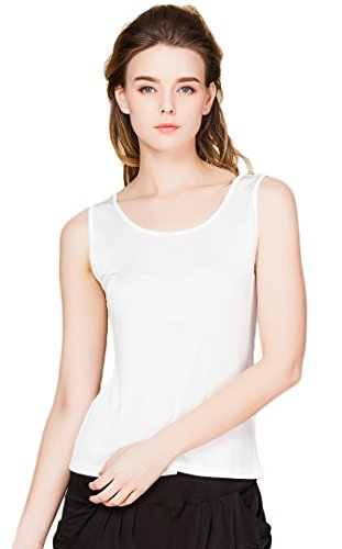 Women's Pure Silk Underwear Casual Loose Double Knit Fabric Weiss XXL