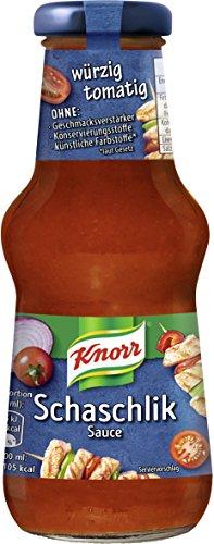 Knorr Schlemmersauce Schaschlik (würzig-tomatig mit Zwiebelstückchen), 6er Pack (6 x 250 ml)