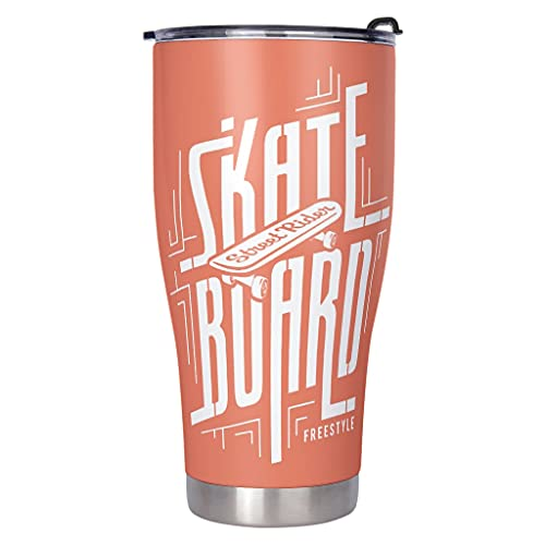 Chicici Fashion Tabla de skate personalizada Freestyle aislada 18/8 taza de café termo de acero inoxidable de 30 onzas – para marido esposa caqui 900 ml (30 oz)