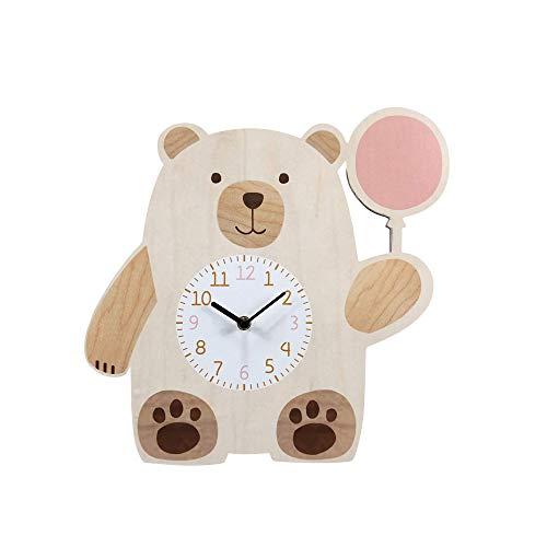 NIKKY HOME Holzwanduhr für Kinderzimmer Tier Bärendesign