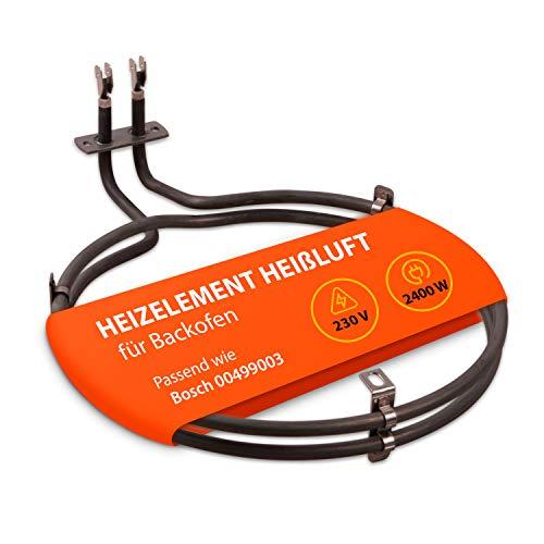 Elemento calefactor de aire caliente de repuesto para calefacción de horno Bosch 00499003, espiral de calefacción con brida estrecha 2400 W 230 V para horno y cocina