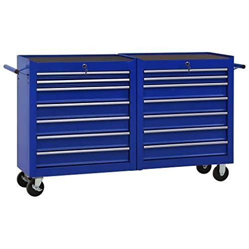 vidaXL Werkzeugwagen mit 14 Schubladen 4 Lenkrollen Kratzfeste Oberfläche Werkstattwagen Werkzeug Rollwagen Werkzeugkiste Stahl Blau