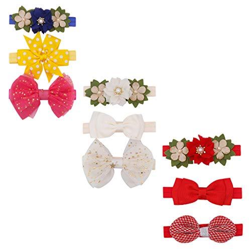 Diadema para niñas, accesorios para el pelo, para niños de cento días, conjunto de 3 piezas de diadema de flor de perla, regalo para nacimiento, bebé o cumpleaños