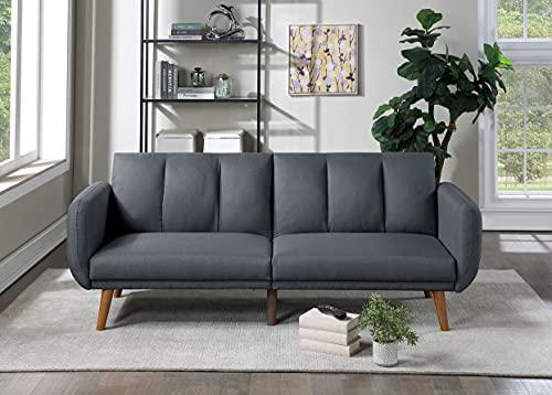 Poundex Sofá Cama/futon Convertible Azul gris