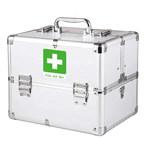 Eerste hulp doos met veiligheidsslot, Medicatie Box Organizer Emergency Medicine Opbergdoos voor Drugs Opslag, Eerste hulp Kit - Aluminium (wit/blauw/roze)