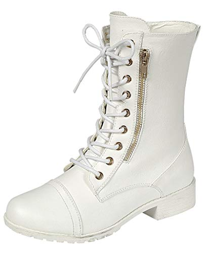 Forever Link Womens Round Toe Military Lace up Knit Ankle Cuff Low Heel Combat Boots, White, 7