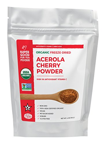 Super Good For You Foods Organic Freeze Dried Acerola Cherry Powder, Gluten-Free, Non-GMO + Vegan, 4 Ounce Bag