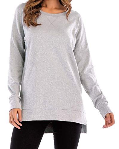 Felpa da donna con cappuccio, scollo rotondo, patchwork, tunica grigio. M