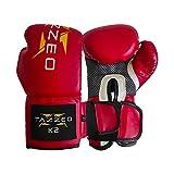 TAZZEO Guantes de boxeo K2 (rojos, 14 onzas)
