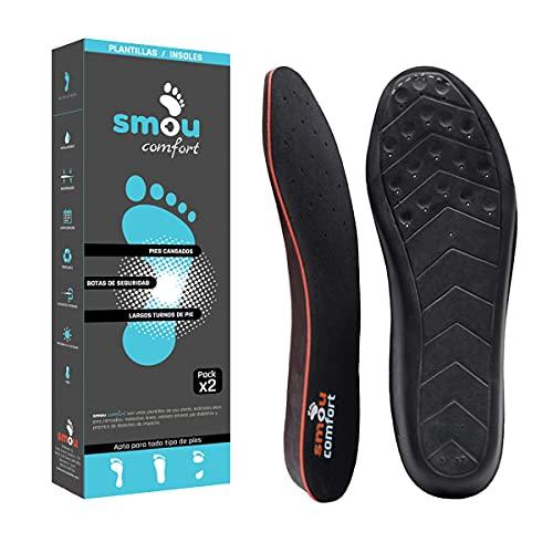 SMOU Comfort Plantillas de gel y memory foam para mujer y hombre - Para zapatos, botas de trabajo o zapatillas deportivas - Gran amortiguación y descanso de la planta y el talón (44-45 EU)