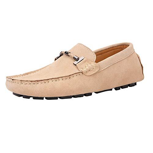 Yaer Uomo Elegante Mocassini Slip On Penny Loafers Scarpe di Guida Casuale Scamosciato Pelle Pantofola Cammello 43