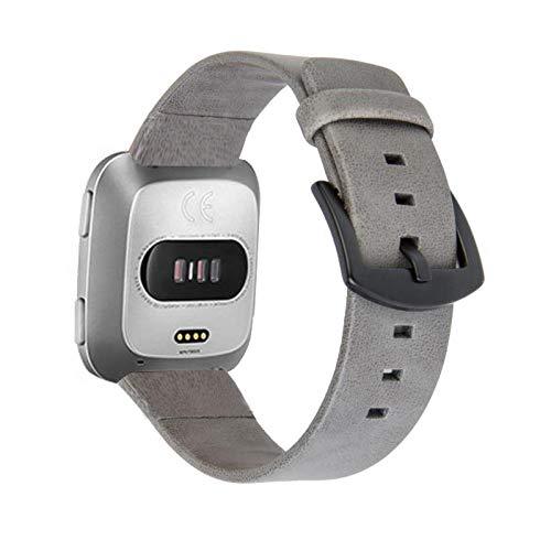 Artchros für Fitbit Versa/Versa 2 Armband, Leder Armband Edelstahl Verschluss Uhrenarmband Business Sport Lederarmband für Fitbit Versa 2/Versa/Versa Lite/Versa Special Edition/Apple Watch 42/44mm