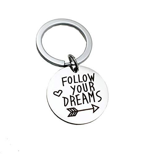 Aimrio Schmuck Edelstahl Schlüsselanhänger für Herren Damen Runde Follow Your Dreams Silber Schlüsselbund Anhänger